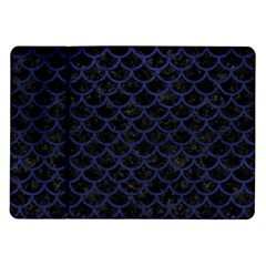 Scales1 Black Marble & Blue Leather Samsung Galaxy Tab 10 1  P7500 Flip Case by trendistuff