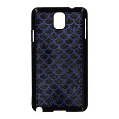 Scales1 Black Marble & Blue Leather Samsung Galaxy Note 3 Neo Hardshell Case (black) by trendistuff