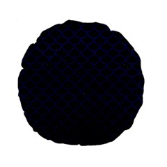 Scales1 Black Marble & Blue Leather Standard 15  Premium Flano Round Cushion  by trendistuff