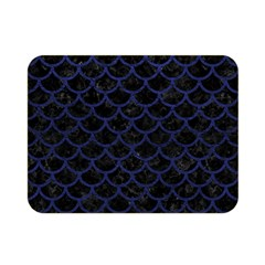Scales1 Black Marble & Blue Leather Double Sided Flano Blanket (mini) by trendistuff