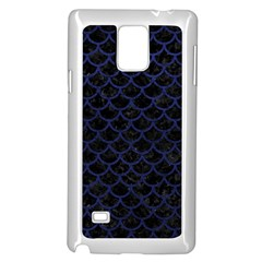 Scales1 Black Marble & Blue Leather Samsung Galaxy Note 4 Case (white) by trendistuff