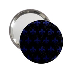 Royal1 Black Marble & Blue Leather (r) 2 25  Handbag Mirror by trendistuff