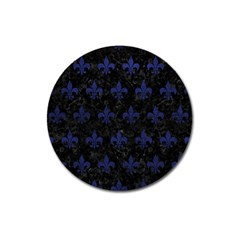 Royal1 Black Marble & Blue Leather (r) Magnet 3  (round) by trendistuff