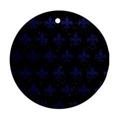 Royal1 Black Marble & Blue Leather (r) Round Ornament (two Sides) by trendistuff