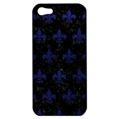 Royal1 Black Marble & Blue Leather (r) Apple Iphone 5 Hardshell Case by trendistuff