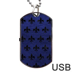 Royal1 Black Marble & Blue Leather Dog Tag Usb Flash (two Sides) by trendistuff