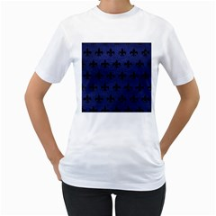 Royal1 Black Marble & Blue Leather Women s T Shirt (white)  by trendistuff