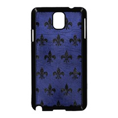 Royal1 Black Marble & Blue Leather Samsung Galaxy Note 3 Neo Hardshell Case (black) by trendistuff