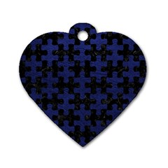 Puzzle1 Black Marble & Blue Leather Dog Tag Heart (two Sides) by trendistuff