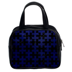 Puzzle1 Black Marble & Blue Leather Classic Handbag (two Sides) by trendistuff