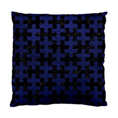 Puzzle1 Black Marble & Blue Leather Standard Cushion Case (two Sides) by trendistuff