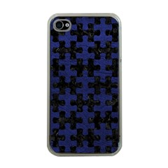 Puzzle1 Black Marble & Blue Leather Apple Iphone 4 Case (clear) by trendistuff