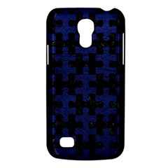 Puzzle1 Black Marble & Blue Leather Samsung Galaxy S4 Mini (gt I9190) Hardshell Case  by trendistuff