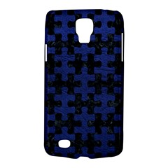 Puzzle1 Black Marble & Blue Leather Samsung Galaxy S4 Active (i9295) Hardshell Case by trendistuff