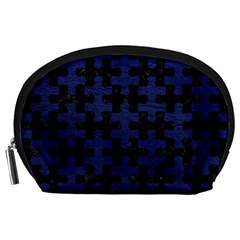 Puzzle1 Black Marble & Blue Leather Accessory Pouch (large) by trendistuff