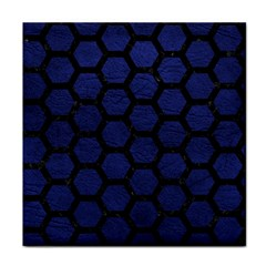 Hexagon2 Black Marble & Blue Leather (r) Tile Coaster by trendistuff