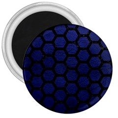 Hexagon2 Black Marble & Blue Leather (r) 3  Magnet by trendistuff
