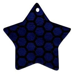Hexagon2 Black Marble & Blue Leather (r) Ornament (star) by trendistuff