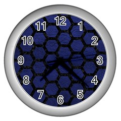 Hexagon2 Black Marble & Blue Leather (r) Wall Clock (silver) by trendistuff