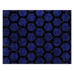 Hexagon2 Black Marble & Blue Leather (r) Jigsaw Puzzle (rectangular) by trendistuff
