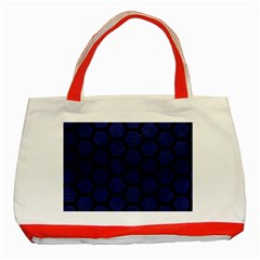 Hexagon2 Black Marble & Blue Leather (r) Classic Tote Bag (red) by trendistuff