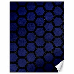 Hexagon2 Black Marble & Blue Leather (r) Canvas 18  X 24  by trendistuff
