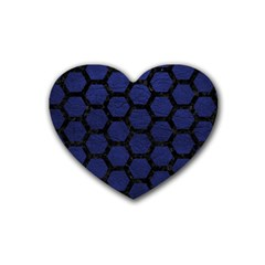 Hexagon2 Black Marble & Blue Leather (r) Rubber Heart Coaster (4 Pack) by trendistuff