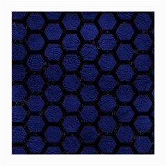 Hexagon2 Black Marble & Blue Leather (r) Medium Glasses Cloth by trendistuff