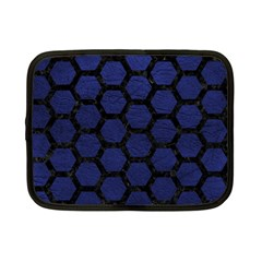 Hexagon2 Black Marble & Blue Leather (r) Netbook Case (small) by trendistuff