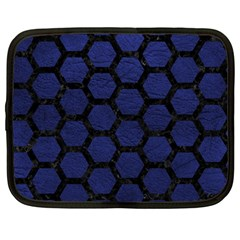 Hexagon2 Black Marble & Blue Leather (r) Netbook Case (large) by trendistuff