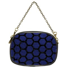 Hexagon2 Black Marble & Blue Leather (r) Chain Purse (one Side) by trendistuff
