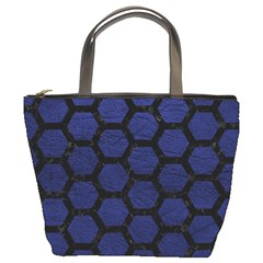 Hexagon2 Black Marble & Blue Leather (r) Bucket Bag by trendistuff