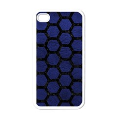Hexagon2 Black Marble & Blue Leather (r) Apple Iphone 4 Case (white) by trendistuff