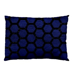 Hexagon2 Black Marble & Blue Leather (r) Pillow Case (two Sides) by trendistuff