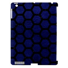 Hexagon2 Black Marble & Blue Leather (r) Apple Ipad 3/4 Hardshell Case (compatible With Smart Cover) by trendistuff