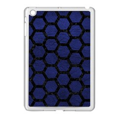 Hexagon2 Black Marble & Blue Leather (r) Apple Ipad Mini Case (white) by trendistuff