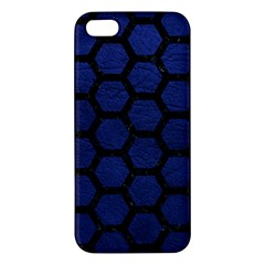Hexagon2 Black Marble & Blue Leather (r) Apple Iphone 5 Premium Hardshell Case by trendistuff