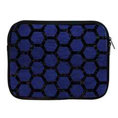 Hexagon2 Black Marble & Blue Leather (r) Apple Ipad Zipper Case by trendistuff