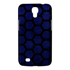 Hexagon2 Black Marble & Blue Leather (r) Samsung Galaxy Mega 6 3  I9200 Hardshell Case by trendistuff