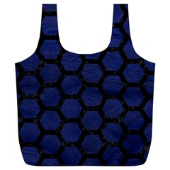 Hexagon2 Black Marble & Blue Leather (r) Full Print Recycle Bag (xl) by trendistuff