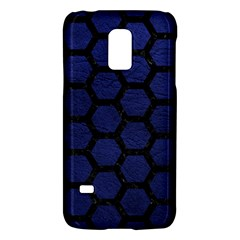 Hexagon2 Black Marble & Blue Leather (r) Samsung Galaxy S5 Mini Hardshell Case  by trendistuff