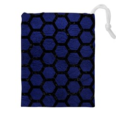 Hexagon2 Black Marble & Blue Leather (r) Drawstring Pouch (xxl) by trendistuff