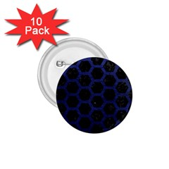 Hexagon2 Black Marble & Blue Leather 1 75  Button (10 Pack)  by trendistuff