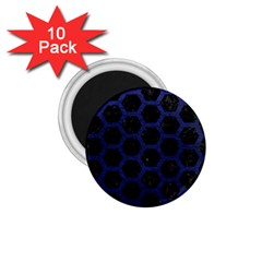 Hexagon2 Black Marble & Blue Leather 1 75  Magnet (10 Pack)  by trendistuff
