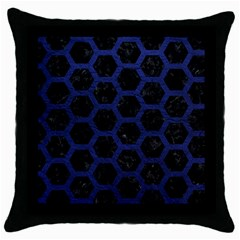 Hexagon2 Black Marble & Blue Leather Throw Pillow Case (black) by trendistuff