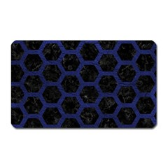 Hexagon2 Black Marble & Blue Leather Magnet (rectangular) by trendistuff