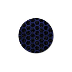 Hexagon2 Black Marble & Blue Leather Golf Ball Marker (4 Pack) by trendistuff