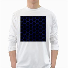 Hexagon2 Black Marble & Blue Leather Long Sleeve T Shirt by trendistuff