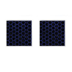 Hexagon2 Black Marble & Blue Leather Cufflinks (square) by trendistuff