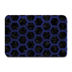 Hexagon2 Black Marble & Blue Leather Plate Mat by trendistuff